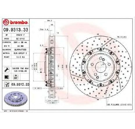 Disc frana MERCEDES SLS AMG ( C197 ) 03/2010 - 2019 - producator BREMBO 09.9313.33 - 308533 - Piesa Noua