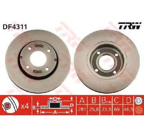 Disc frana MITSUBISHI COLT VI ( Z3A, Z2A ) 10/2002 - 06/2012 - piesa NOUA - producator TRW DF4311 - 305126