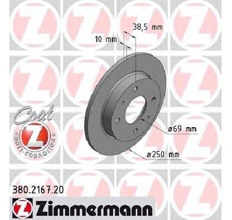 Disc frana MITSUBISHI COLT VI ( Z3A, Z2A ) 10/2002 - 06/2012 - piesa NOUA - producator ZIMMERMANN 380.2167.20 - 305126