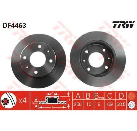 Disc frana MITSUBISHI COLT VI ( Z3A, Z2A ) 10/2002 - 06/2012 - piesa NOUA - producator TRW DF4463 - 305126