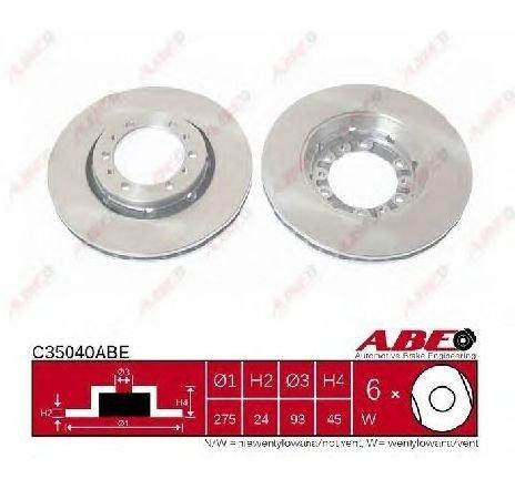 Disc frana MITSUBISHI L 400 CAROSERIE ( PDW, PCW, PBV, PAW, PAV ) 06/1996 - 04/2007 - piesa NOUA - producator ABE C35040ABE - 304486