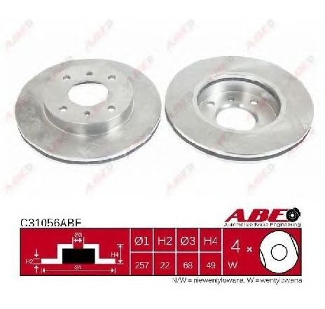 Disc frana NISSAN ALMERA MK II ( N16 ) 06/2000 - 2019 - piesa NOUA - producator ABE C31056ABE - 304651