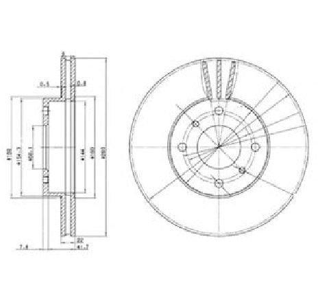 Disc frana NISSAN ALMERA MK II ( N16 ) 06/2000 - 2019 - piesa NOUA - producator DELPHI BG3596 - 304651