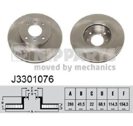 Disc frana NISSAN ALMERA MK II ( N16 ) 06/2000 - 2019 - piesa NOUA - producator NIPPARTS J3301076 - 304651