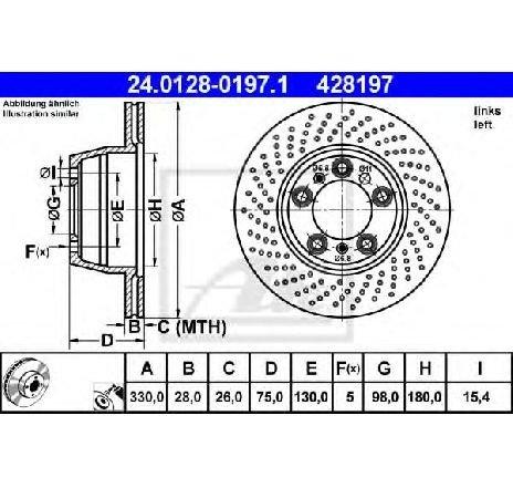 Disc frana PORSCHE 911 ( 996 ) 09/1997 - 08/2005 - piesa NOUA - producator ATE 24.0128-0197.1 - 302033