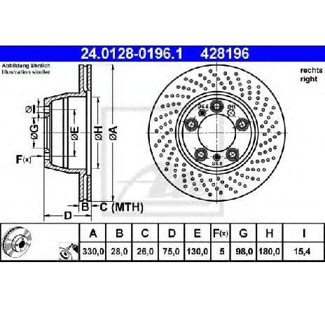 Disc frana PORSCHE 911 ( 996 ) 09/1997 - 08/2005 - piesa NOUA - producator ATE 24.0128-0196.1 - 302033