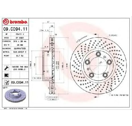 Disc frana PORSCHE 911 TARGA ( 997 ) 07/2006 - 12/2012 - producator BREMBO 09.C094.11 - 307586 - Piesa Noua