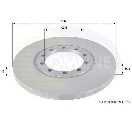 Disc frana puntea spate FORD TRANSIT BUS 04/2006 - 2019 - piesa NOUA - producator COMLINE ADC1233 - 305571