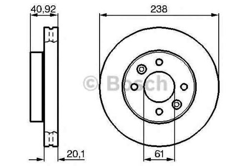 Disc frana RENAULT CLIO I B/C57 5/357 BOSCH 0 986 478 276