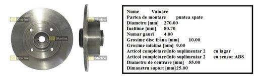 Disc frana spate Renault Megane II Combi , Scenic + rulment roata + senzor ABS --OEM : 8660001812 7701207898