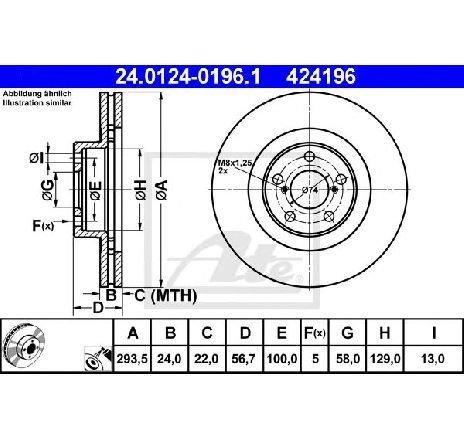 Disc frana SUBARU XV PRODUCATOR ATE 24.0124-0196.1
