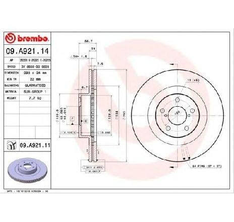 Disc frana SUBARU XV PRODUCATOR BREMBO 09.A921.11