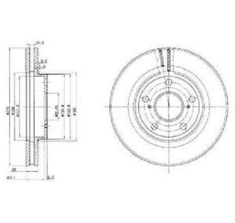 Disc frana TOYOTA PREVIA ( MCR3, ACR3, CLR3 ) 02/2000 - 01/2006 - piesa NOUA - producator DELPHI BG2782 - 304646