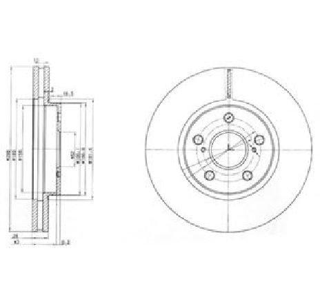 Disc frana TOYOTA PREVIA ( MCR3, ACR3, CLR3 ) 02/2000 - 01/2006 - piesa NOUA - producator DELPHI BG3735 - 304646