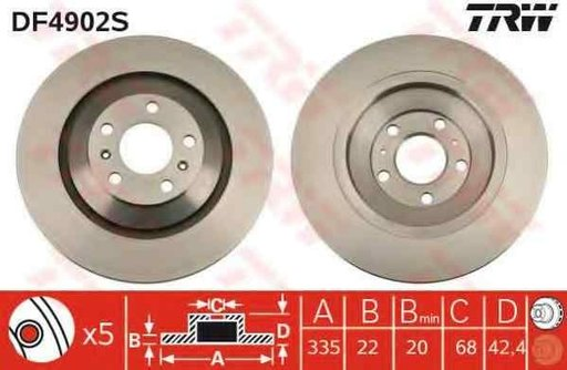Disc frana VW PHAETON (3D_) TRW DF4902S