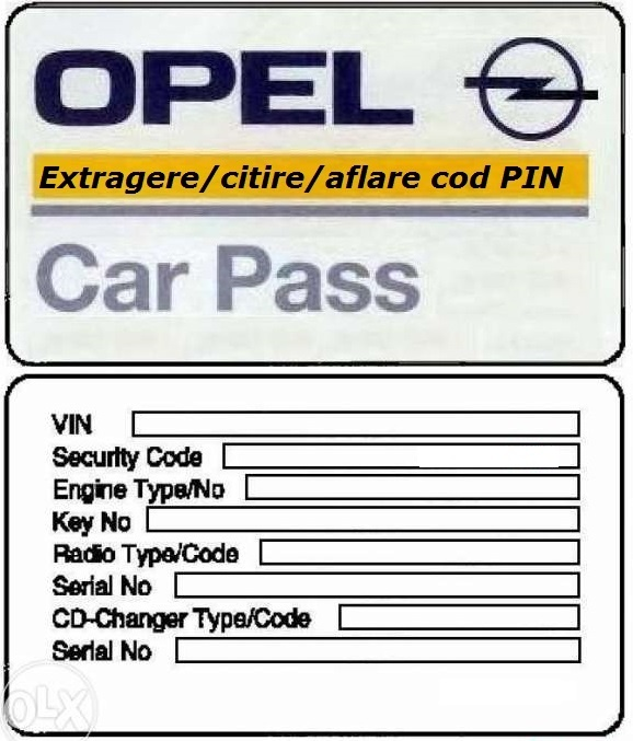extragere cod securitate citire pin car pass opel astra corsa vectra