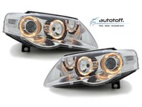 Faruri Angel Eyes VW Passat 3C (2005-2010) Fundal Crom