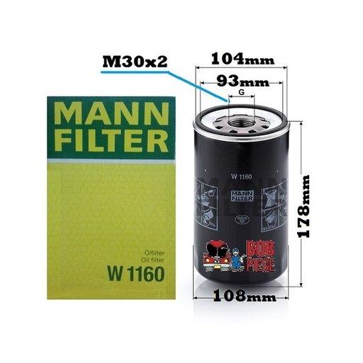 Filtru ulei MAN M90 M2000 G90 L2000 F M G L 2000 90 7 8 9 MANN Filter W1160