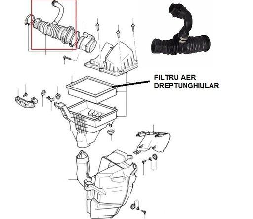 Furtun admisie aer cu racord epurator gaze Ford FOCUS II , CMAX , 1.6 TDCi 1300470 ,VOLVO S40II,V50 1.6D
