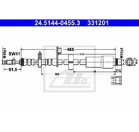Furtun frana FIAT SCUDO caroserie 272 270 PRODUCATOR ATE 24.5144-0455.3