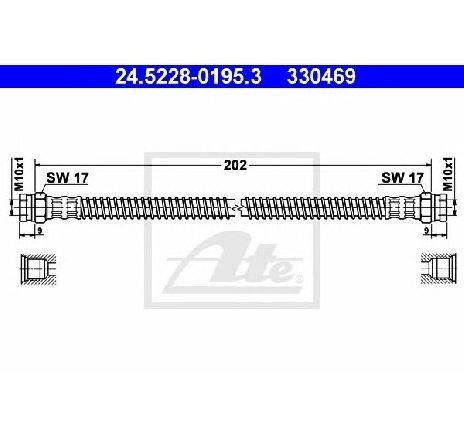 Furtun frana PEUGEOT 306 ( 7B, N3, N5 ) 04/1993 - 10/2003 - producator ATE 24.5228-0195.3 - 300273 - Piesa Noua