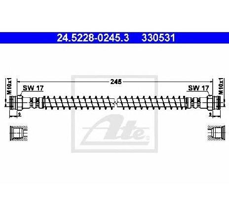Furtun frana PEUGEOT 306 ( 7B, N3, N5 ) 04/1993 - 10/2003 - producator ATE 24.5228-0245.3 - 300273 - Piesa Noua