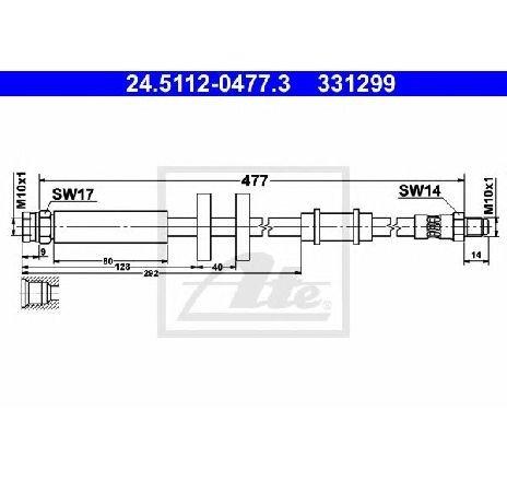 Furtun frana PEUGEOT BOXER bus 230P PRODUCATOR ATE 24.5112-0477.3
