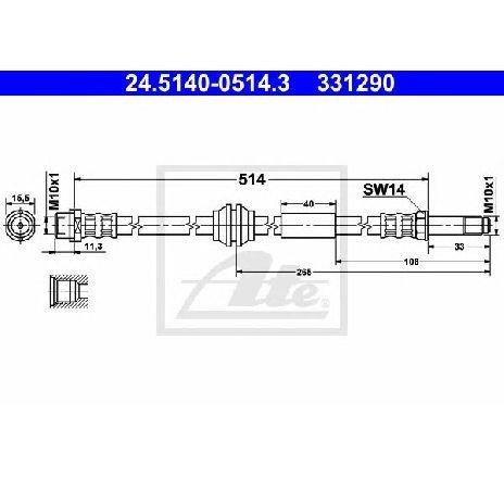 Furtun frana VW TRANSPORTER V bus 7HB 7HJ 7EB 7EJ 7EF 7EG 7HF 7EC PRODUCATOR ATE 24.5140-0514.3
