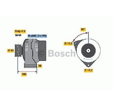 Generator / alternator MERCEDES-BENZ G-CLASS ( W463 ) 09/1989 - 2018 - producator BOSCH 0 986 038 160 - 300065 - Piesa Noua