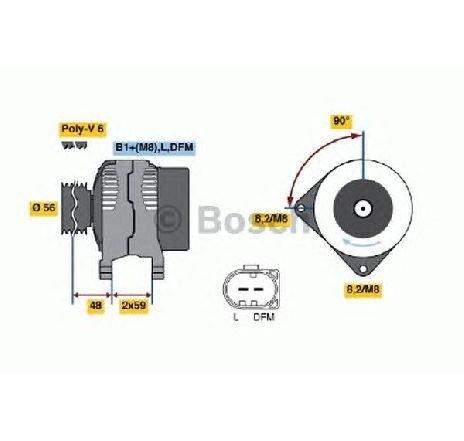Generator / alternator VW LUPO ( 6X1, 6E1 ) 09/1998 - 07/2005 - producator BOSCH 0 124 325 050 - 303398 - Piesa Noua