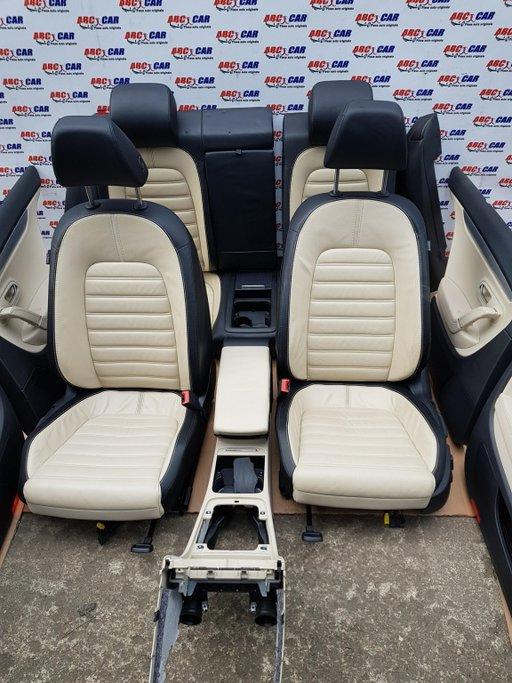 Interior complet din piele neagra-crem VW Passat CC 2008-2012