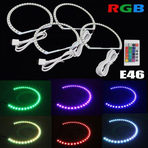 Kit Angel Eyes LED SMD BMW E46 RGB cu 16 culori cu