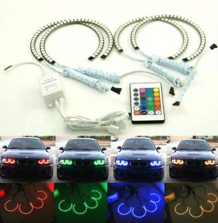Kit Angel Eyes RGB SMD 16 culori cu telecomanda BMW Seria 3 E46 (far fara lupa)