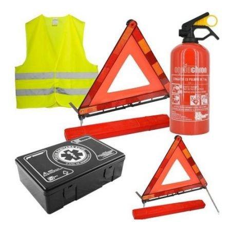KIT SIGURANTA AUTO - stingator auto 1kg, trusa medicala,2 x triunghi,vesta (pachet legislativ)