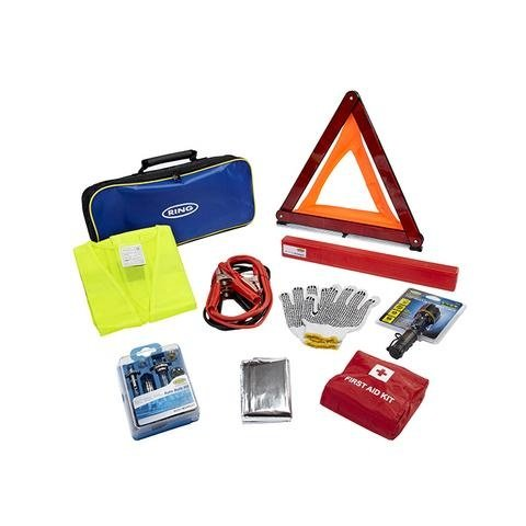 Kit siguranta rutiera - triunghi reflectorizant / trusa medicala /cabluri pornire/ lanterna