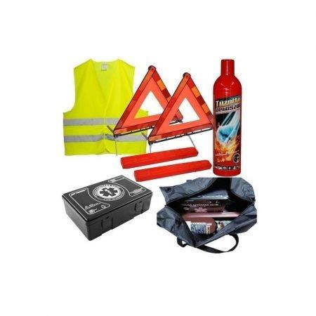 Kit Siguranta $- trusa medicala, 2x triunghiuri, stingator, vesta, geanta