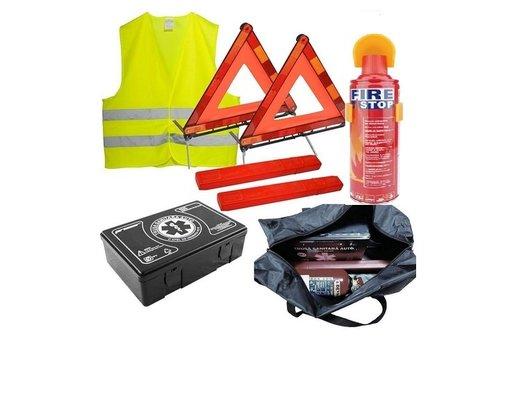 Kit Siguranta - trusa medicala, 2x triunghiuri, stingator tip spray, vesta, geanta