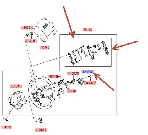 Kit sistem fixare / prindere airbag sofer Hyundai Tucson ( an 2004-2009 ) / Nou / Original / OE 56140-1F600