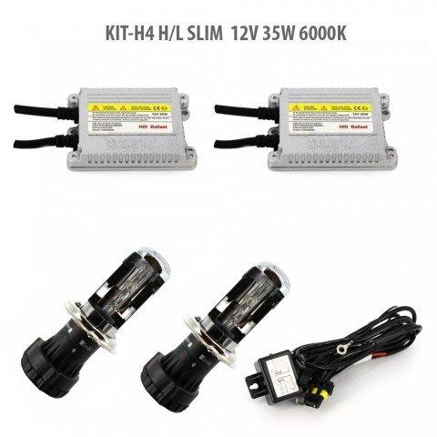 Kit Xenon H4 H/L SLIM 12V 35W 6000K Garantie 2 ani!