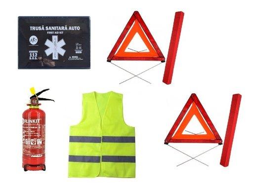 Pachet urgenta - trusa medicala, 2 triunghiuri reflectorizante, stingator reincarcabil, vesta reflectorizanta