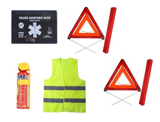 Pachet urgenta - trusa medicala, 2 triunghiuri, stingator tip spray, vesta reflectorizanta
