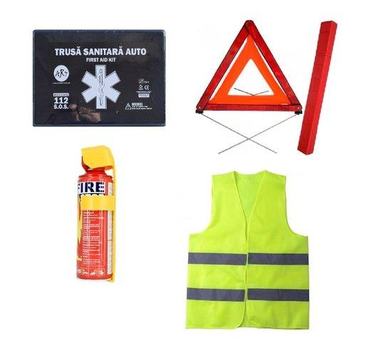 Pachet urgenta - trusa medicala, triunghi, stingator tip spray, vesta reflectorizanta
