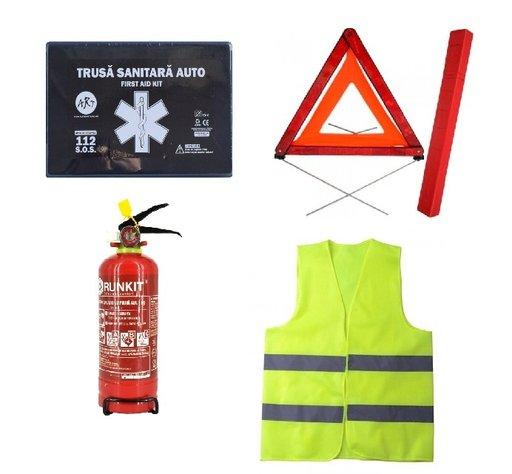 Pachet urgenta - trusa medicala, triunghi reflectorizant, stingator reincarcabil, vesta reflectorizanta