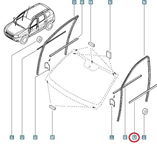 Perie exterioara geam usa stanga fata Dacia Duster 808212427R