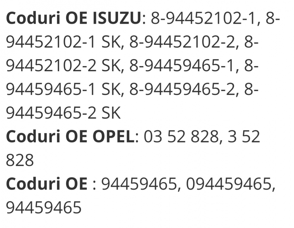 Pivoti Isuzu Trooper/Opel Frontera 1998-2016 cod8-94459465-2,JBJ320, TC691,BJ913,919503,11709 04