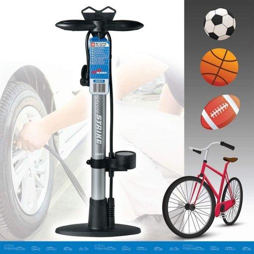 "Pompa aer manuala ""Bike Style"" cu manometru 10 Bar si furtun de 50 cm"