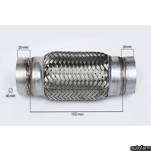 RACORD FLEXIBIL INNER & OUTER BRAID (B) 60X150 MM FLANK 60104 <br>
