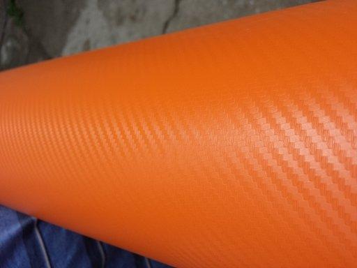 Rola folie carbon 3D portocaliu latime 1.27mx30m
