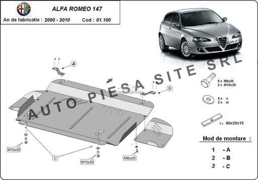 Scut metalic motor Alfa Romeo 147 fabricat in perioada 2000 - 2010 APS-01,100 - piesa NOUA