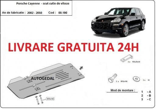 Scut metalic otel 2mm cutie de viteze Porsche Cayenne 2002-2010 COD:00.190